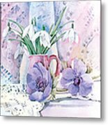Snowdrops And Anemones Metal Print