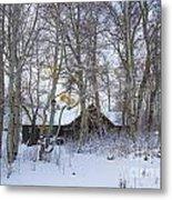 Snowed Cabin Metal Print