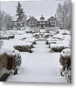 Snowfall At Longview Mansion Metal Print