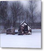 Snowing At Narcissa Road Springhouse Metal Print