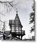 Snowing At The Gazebo Metal Print
