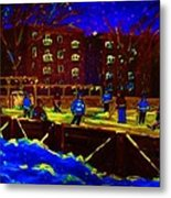 Snowing At The Rink Metal Print