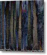 Snowing In The Ice Forest At Night Metal Print