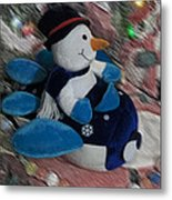 Snowman And His Speeding Plane Metal Print