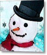 Snowman Christmas Art - Frosty Metal Print