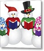 Snowman Christmas Carolers Illustration Metal Print