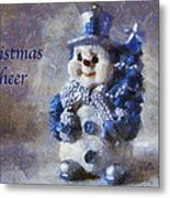 Snowman Christmas Cheer Photo Art 02 Metal Print