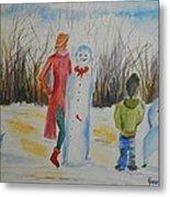 Snowman Competition Metal Print