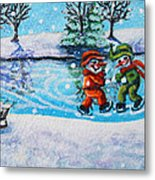 Snowman Friends Ice Skating  P2 Metal Print