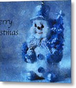 Snowman Merry Christmas Photo Art 01 Metal Print