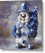 Snowman Peace Photo Art 01 Metal Print