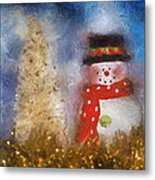 Snowman Photo Art 14 Metal Print