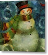 Snowman Photo Art 16 Metal Print