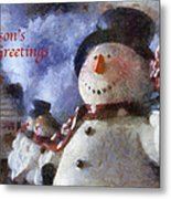 Snowman Season Greetings Photo Art 01 Metal Print