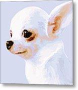 Snowman - White Chihuahua Metal Print