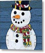 Snowman Winter Fun License Plate Art Metal Print