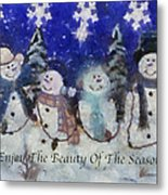 Snowmen Enjoy The Beauty Photo Art Metal Print
