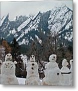 Flatiron Snowmen. Metal Print