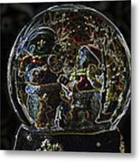 Snowmen Neon Water Globe Metal Print