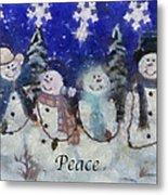 Snowmen Peace Photo Art Metal Print