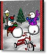 Snowmen Playing Metal Print