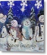 Snowmen Season Greetings Photo Art Metal Print