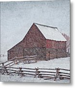 Snowstorm At The Ranch 2 Metal Print