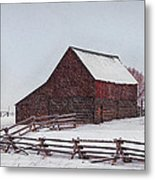 Snowstorm At The Ranch Metal Print