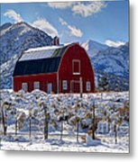 Snowy Barn In The Mountains - Utah Metal Print