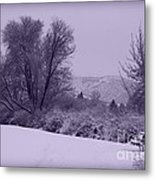 Snowy Bench In Purple Metal Print