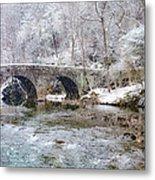 Snowy Bridge Along The Wissahickon Metal Print