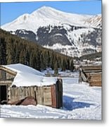 Snowy Cabins Metal Print