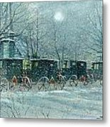 Snowy Carriages Metal Print