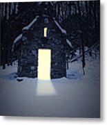 Snowy Chapel At Night Metal Print