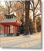 Snowy Chinese Shelter Metal Print