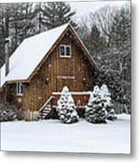 Snowy Country Cottage Metal Print