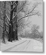 Snowy Country Road - Black And White Metal Print