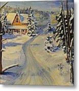 Snowy Country Road Metal Print