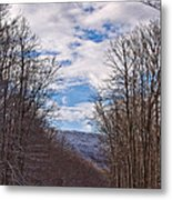 Snowy Country Road Metal Print