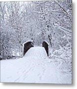 Snowy Day Bridge Metal Print