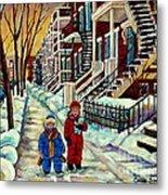 Snowy Day Rue Fabre Le Plateau Montreal Art Winter City Scenes Paintings Carole Spandau Metal Print