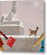 Snowy Evening In The City Metal Print