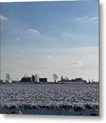 Snowy Farmfield Metal Print