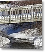 Snowy Foot Bridge Metal Print