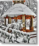 Snowy Gazebo - Greensboro North Carolina I Metal Print by Dan Carmichael