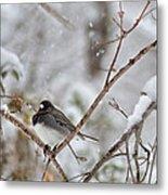 Snowy Grace Cardinals Metal Print
