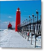 Snowy Grand Haven Pier Metal Print