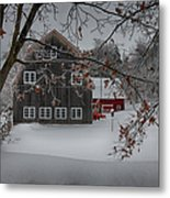 Snowy Grey And Red Metal Print