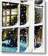 Snowy Inn Window Metal Print