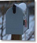 Snowy Kansas Mailbox Metal Print by Robert D  Brozek